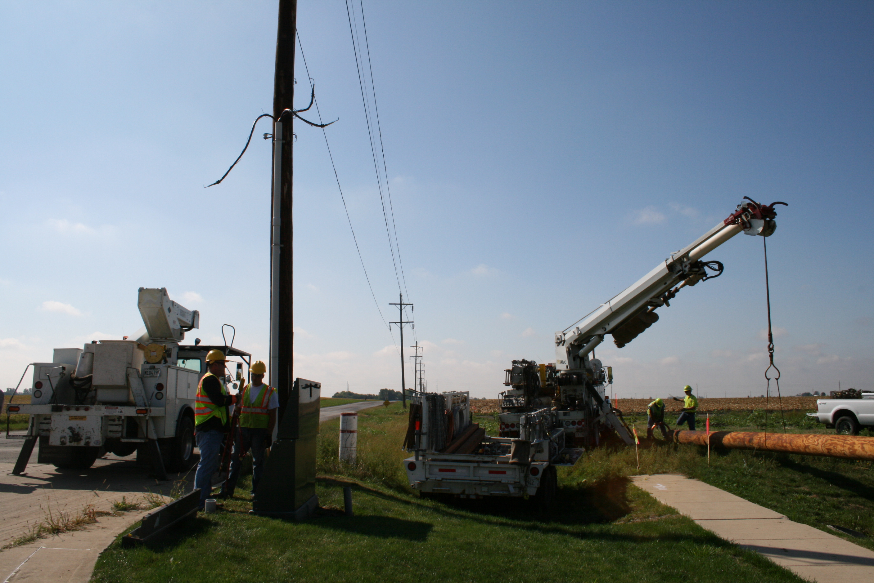 Utility Crews Working on Lines